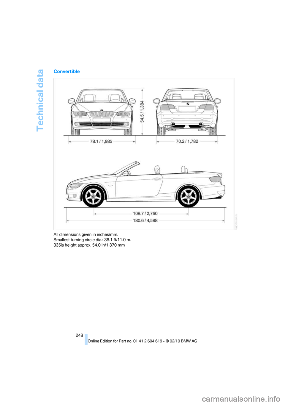 BMW 335IS CONVERTIBLE 2011 E94 Owner s Manual 278 Pages