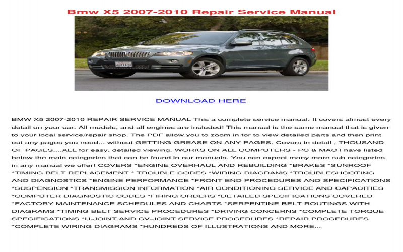 2011 BMW X5 E70 Owners Manual Owners Manual