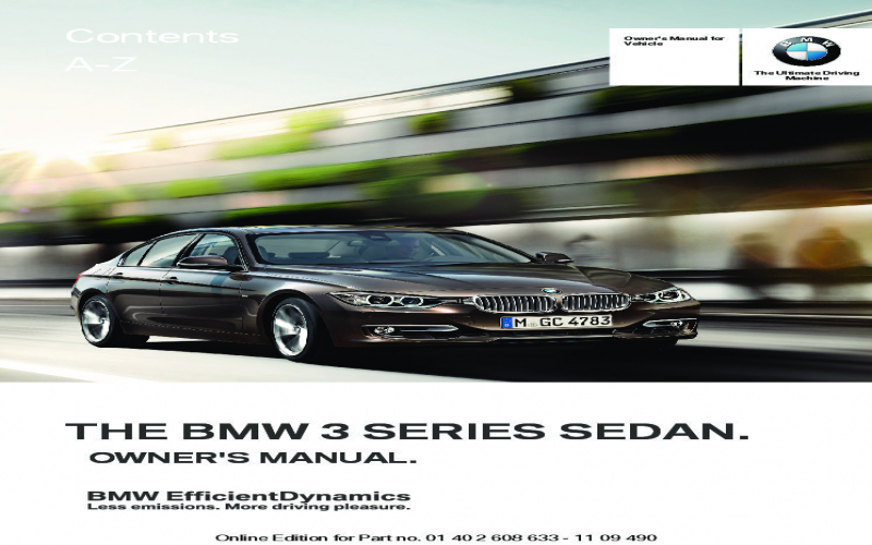 2012 BMW 328i Owners Manual Owners Manual