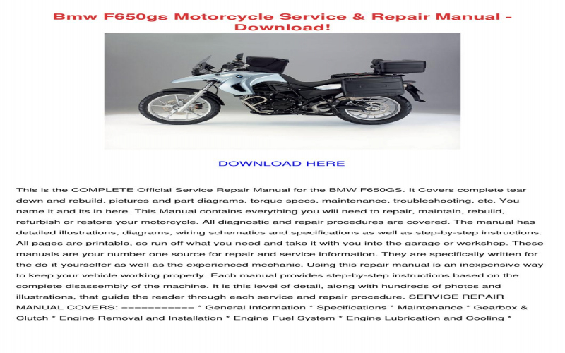 BMW F650gs Owners Manual Download Owners Manual
