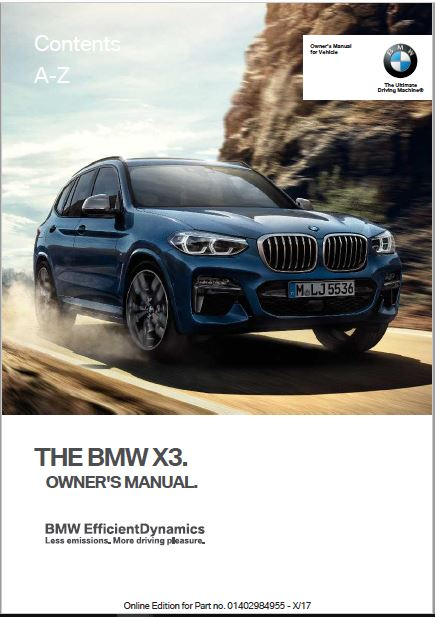 2018 BMW X3 Owner s Manual Manuals Books